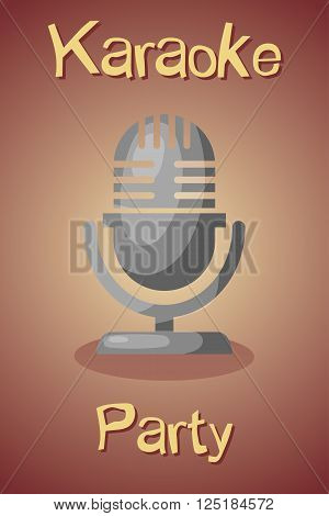 Colorful banner with microphone for karaoke parties