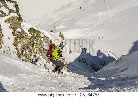 Zakopane, Poland - March 28 2016: Ski mountaineering descend steep evil in the mountains.
