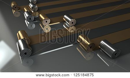 metal rolls unrolling on grey background 3d render