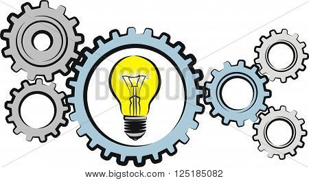 industry - vector outlines of gears and bulb