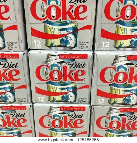 RIVER FALLS WISCONSIN-MARCH 262016: Several boxes of Diet Coke. This is product of the Coca-Cola Company