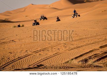 Quads On Sahara Desert. Merzouga, Morroco.