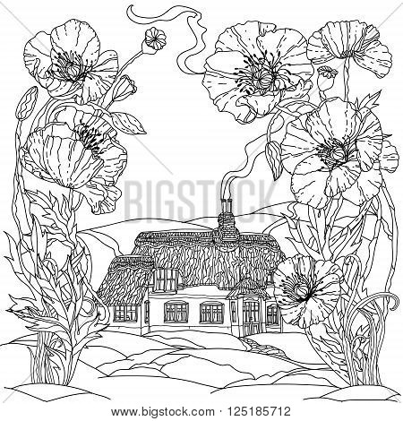 field poppies and victorian house. Spring Pattern for adult coloring book in zenart style. Hand-drawn, retro, doodle, vector, uncoloured. The best for your textiles, posters, coloring book in vector.