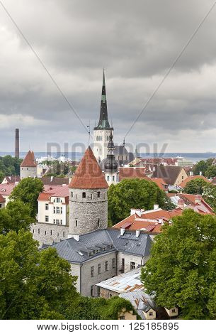City from an observation deck. Tallinn. Estonia.