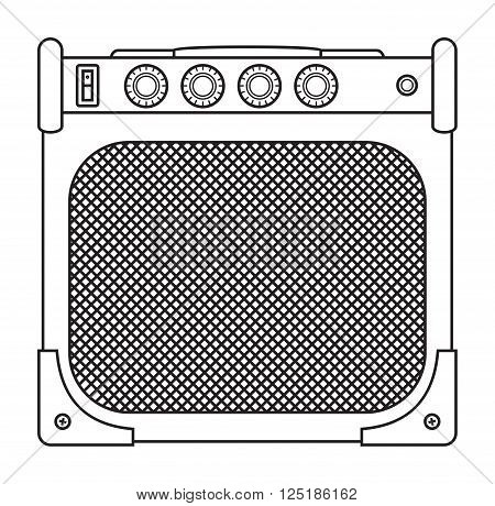 Classic guitar and bass amplifier outlined and in black and white