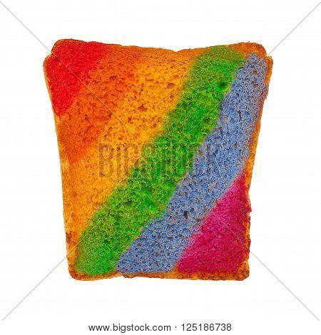 rainbow on toasted bread. rainbow strips on toast. isolated on white background