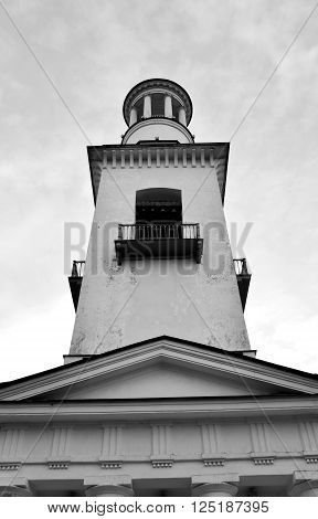 Church of St. Alexander Nevsky in Ust-Izhora town St.Petersburg suburb Russia. Black and white.
