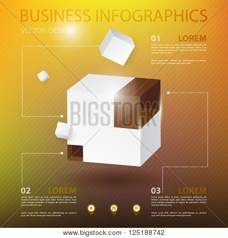 Vector illustration of 3d white cubes. Business infographic with cube on gold background