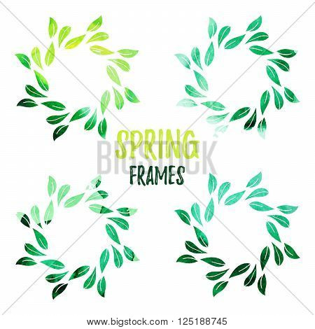 Elegant green watercolour contour floral frame on white background. Design template for banner, card, monogram, invitation, label, emblem etc. Vector illustration.