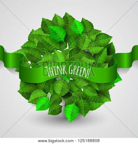 Green Leaves Background A Circle Shape With Green Ribbon Think Green. Planet Earth Consists Of Leave