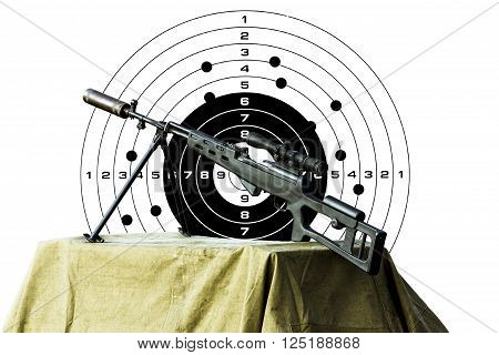 Charged sniper rifle isolated on a white background with a hole in the target