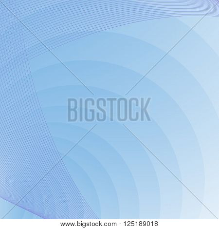 blue background with circles and curves - vector illustration