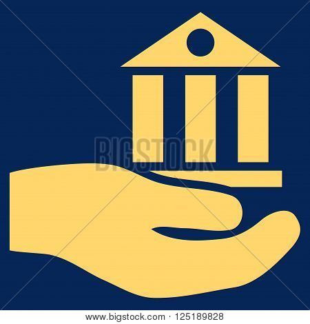Bank Service vector icon. Bank Service icon symbol. Bank Service icon image. Bank Service icon picture. Bank Service pictogram. Flat yellow bank service icon. Isolated bank service icon graphic.