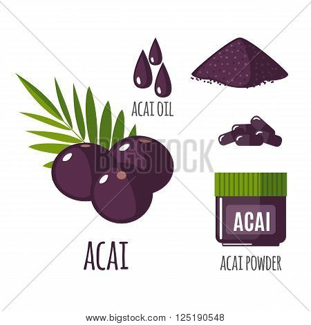 Superfood acai berry set in flat style: acai berries, powder, pills, oil. Organic healthy food. Isolated objects on white background. Vector illustration