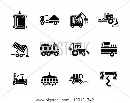 Agricultural and farming vehicles. Tractors, harvesting combine and others machinery. Collection of symbolic black glyph style vector icons. Elements for web design and mobile.
