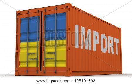Imports of Ukraine. Freight container on a white surface with inscription