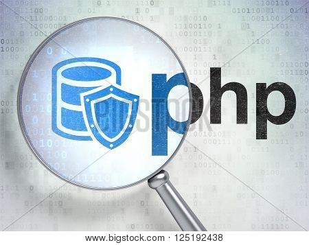 Software concept: Database With Shield and Php with optical glass