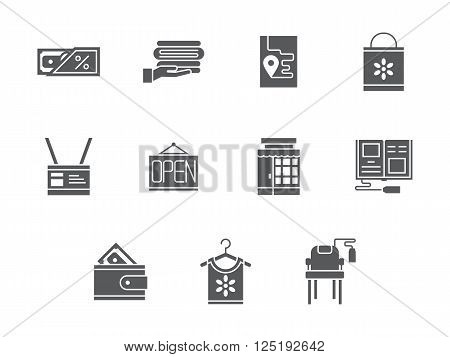 Store of housekeeping equipment and accessories. Commission shop. Internet shopping theme. Collection of symbolic black glyph style vector icons. Elements for web design and mobile.