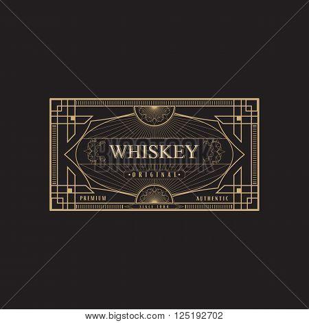 antique frame vintage border whiskey label retro  vector illustration