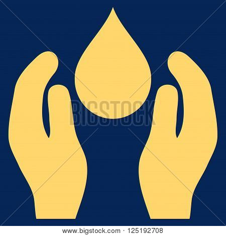Water Care vector icon. Water Care icon symbol. Water Care icon image. Water Care icon picture. Water Care pictogram. Flat yellow water care icon. Isolated water care icon graphic.