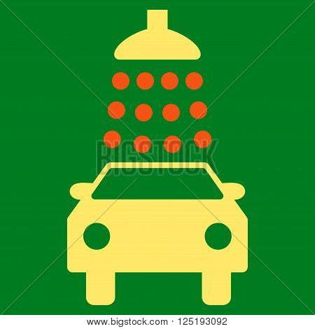 Car Wash vector icon. Car Wash icon symbol. Car Wash icon image. Car Wash icon picture. Car Wash pictogram. Flat orange and yellow car wash icon. Isolated car wash icon graphic.
