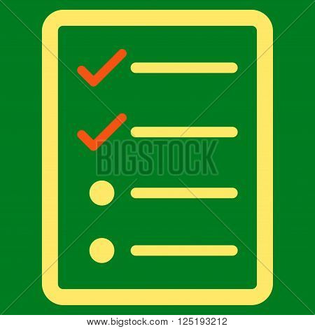 Checklist Page vector icon. Checklist Page icon symbol. Checklist Page icon image. Checklist Page icon picture. Checklist Page pictogram. Flat orange and yellow checklist page icon.