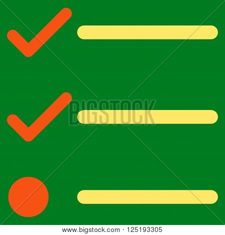 Checklist vector icon. Checklist icon symbol. Checklist icon image. Checklist icon picture. Checklist pictogram. Flat orange and yellow checklist icon. Isolated checklist icon graphic.