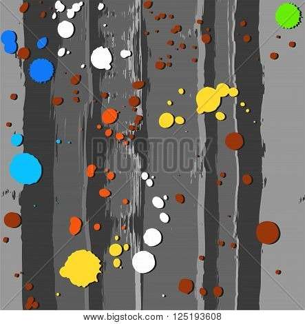 Vector background with colorful spots of paint on a gray background. Color, flat. The trace of a paint roller and spray paint simulation. For the decoration.