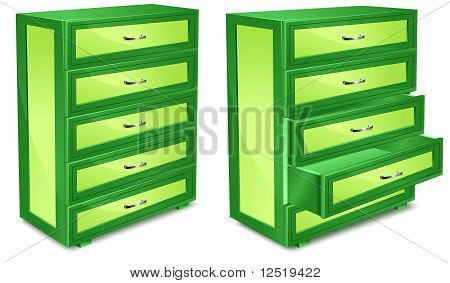 Wooden Commode In Green