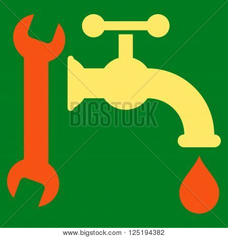 Plumbing vector icon. Plumbing icon symbol. Plumbing icon image. Plumbing icon picture. Plumbing pictogram. Flat orange and yellow plumbing icon. Isolated plumbing icon graphic.