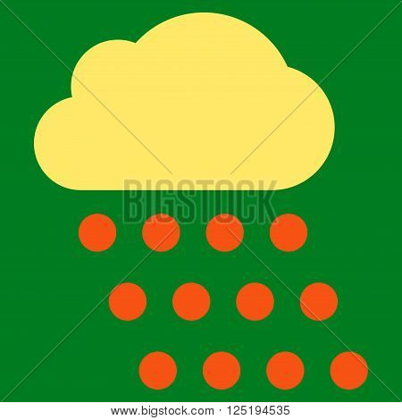 Rain Cloud vector icon. Rain Cloud icon symbol. Rain Cloud icon image. Rain Cloud icon picture. Rain Cloud pictogram. Flat orange and yellow rain cloud icon. Isolated rain cloud icon graphic.