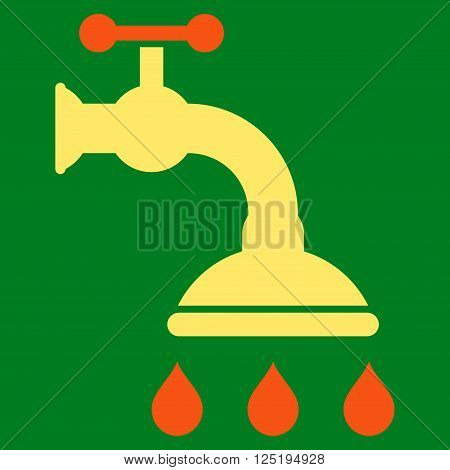 Shower Tap vector icon. Shower Tap icon symbol. Shower Tap icon image. Shower Tap icon picture. Shower Tap pictogram. Flat orange and yellow shower tap icon. Isolated shower tap icon graphic.