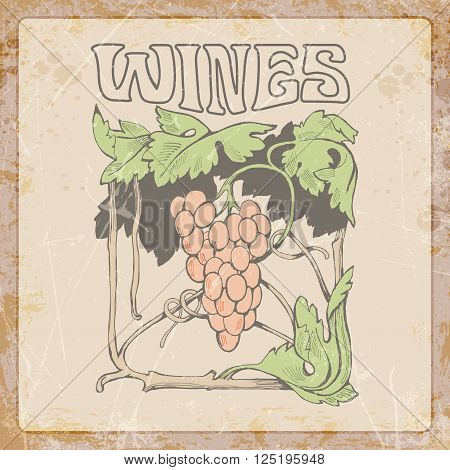 collection of graphic label. Graphic symbol of wine. grape branch. no trace.vector illustration