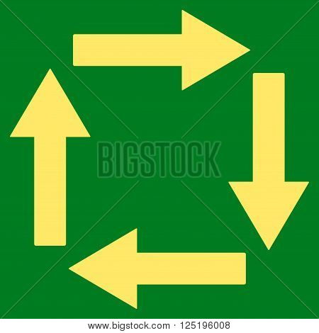 Circulation Arrows vector icon. Circulation Arrows icon symbol. Circulation Arrows icon image. Circulation Arrows icon picture. Circulation Arrows pictogram. Flat yellow circulation arrows icon.