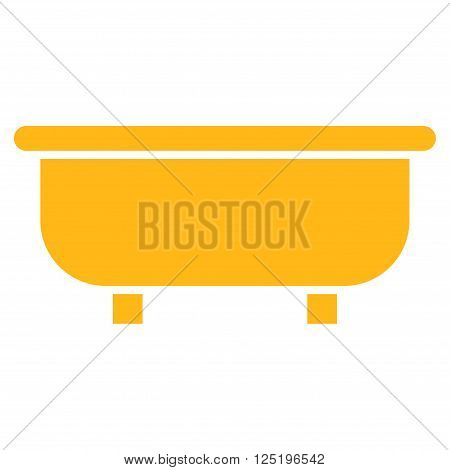 Bathtub vector icon. Bathtub icon symbol. Bathtub icon image. Bathtub icon picture. Bathtub pictogram. Flat yellow bathtub icon. Isolated bathtub icon graphic. Bathtub icon illustration.