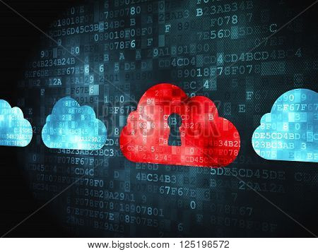 Cloud networking concept: Cloud With Keyhole on digital background