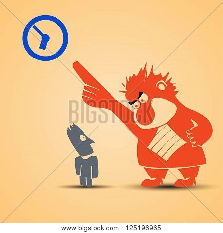 cartoon illustration of business boss and male screaming to clock. standing with tie