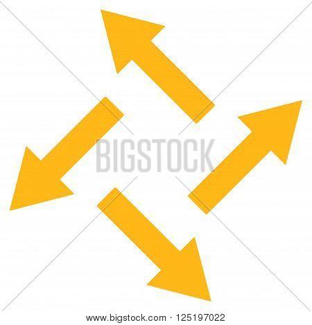 Centrifugal Arrows vector icon. Centrifugal Arrows icon symbol. Centrifugal Arrows icon image. Centrifugal Arrows icon picture. Centrifugal Arrows pictogram. Flat yellow centrifugal arrows icon.