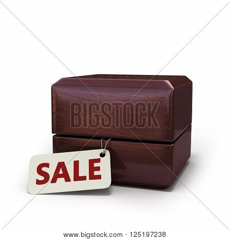 3D Illustration Of A Closed Gift Box For Rings And Peeking Out Of Her Tablet With An Inscription Sal