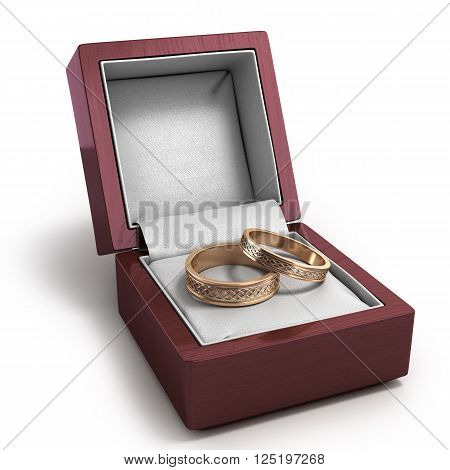 3D Render Of Wooden Lacquered Gift Box For Rings With Two Wedding Rings Inside Insulated On White