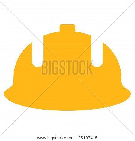 Construction Helmet vector icon. Flat yellow construction helmet icon.
