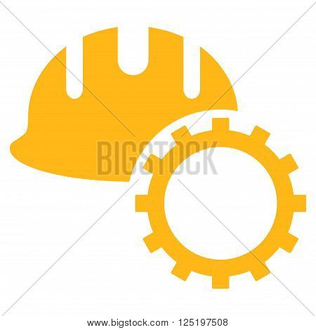 Development Hardhat vector icon. Development Hardhat icon symbol. Development Hardhat icon image. Development Hardhat icon picture. Development Hardhat pictogram. Flat yellow development hardhat icon.
