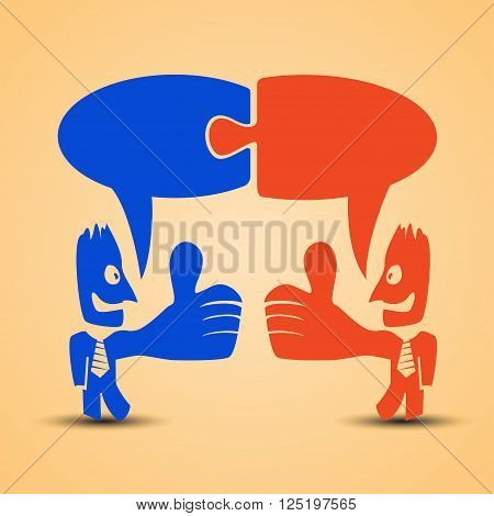 cartoon illustration of red men standing with thumb is up. businessmans are red and blue colors and with necktie and labels