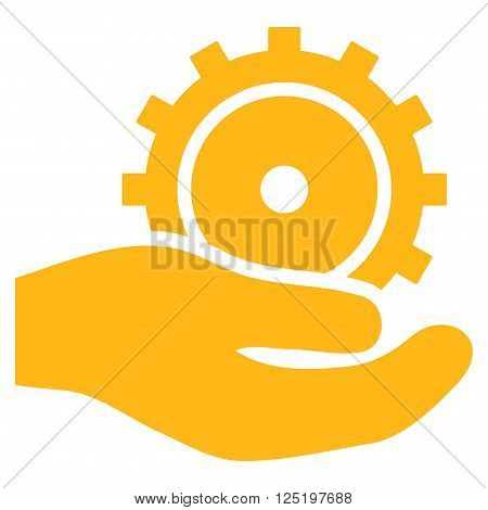 Development Service vector icon. Development Service icon symbol. Development Service icon image. Development Service icon picture. Development Service pictogram. Flat yellow development service icon.