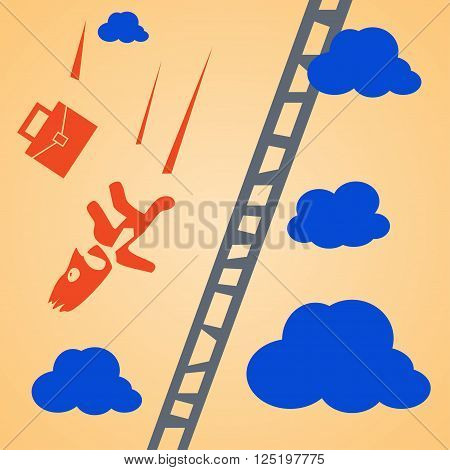 cartoon illustration of falling businessman with his case from up to down. falling from ladder