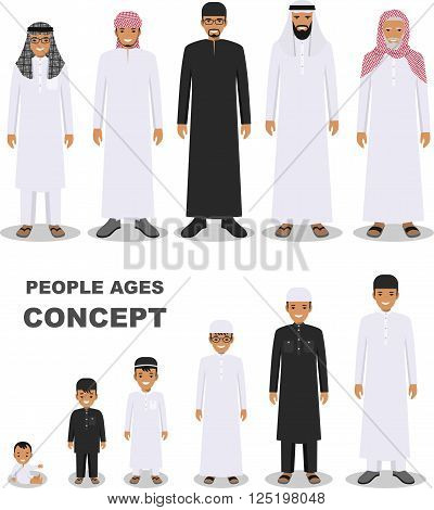 All age group of arab man family. Generations man. Stages of development people - infancy, childhood, youth, maturity, old age.