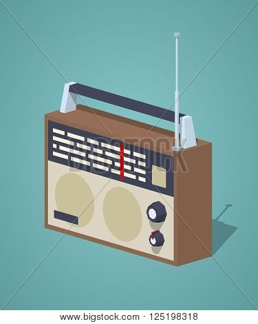 Retro radio set against the dark-blue background. 3D lowpoly isometric vector illustration