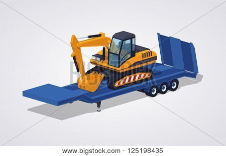 Yellow excavator on the blue low-bed trailer against the white background. 3D lowpoly isometric vector illustration