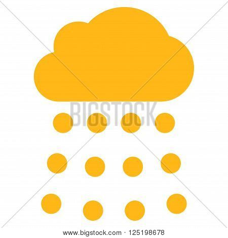 Rain Cloud vector icon. Rain Cloud icon symbol. Rain Cloud icon image. Rain Cloud icon picture. Rain Cloud pictogram. Flat yellow rain cloud icon. Isolated rain cloud icon graphic.