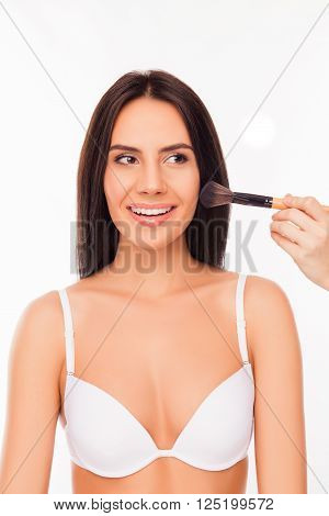 Portrait Of Cute Cheerful Girl In White Bra Doing Maquillage With Brush Of Powder